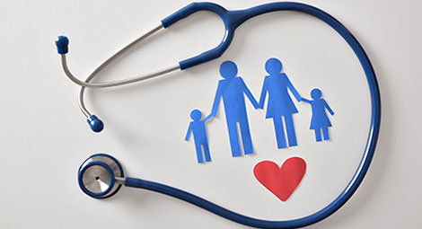 Stethoscope around a graphic of a family